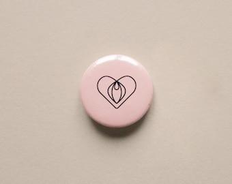 "Brooch ""Plaisant Plaisir"" | Pin's minimalist illustration heart and vulva | Sensual and erotic theme"