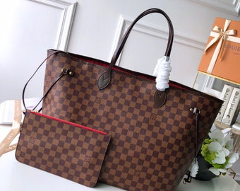 a2e2c371110a Made In France Purse Handbags Used Item Louiss Vuitton Neverfull Tote  Damier GM Size 15.7 x 13.0 x 7.9 inches Red Color Inside Free Shipping
