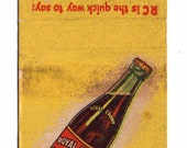 1940 39 s Royal Crown RC Cola Soda Matchbook Cover