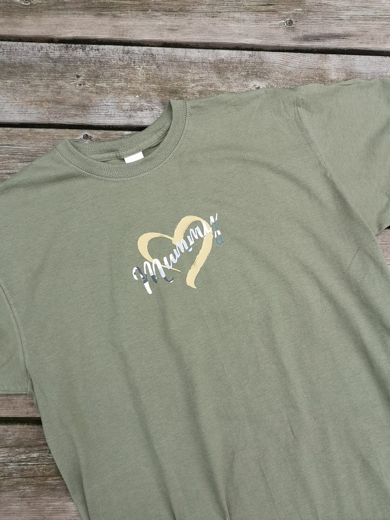 Gold Heart Camouflage Mummy T Shirt Slogan Top Tee