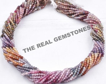 Precious Gemstone Beads Beading 16 2-2.5mm AAA Multi Sapphire Micro Faceted Rondelles Jewelry Making Wire Wrapping