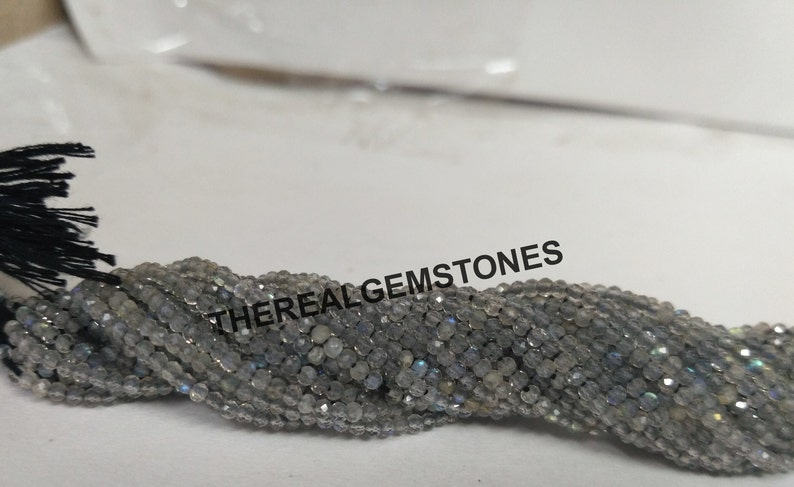Natural Tiny Labradorite Rondelle Faceted Bead Labradorite Semi Precious Wholesale Bead Micro AAA Grey Labradorite 2-2.5mm Gemstone Bead