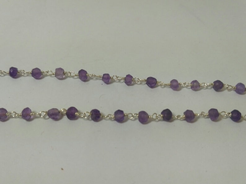 Amethyst Bead 925 Sterling Silver Plated Wholesale Gemstone Jewelry Rosary Chain Foot Amethyst Wire Wrapped Rondelle Beaded Rosary Chain
