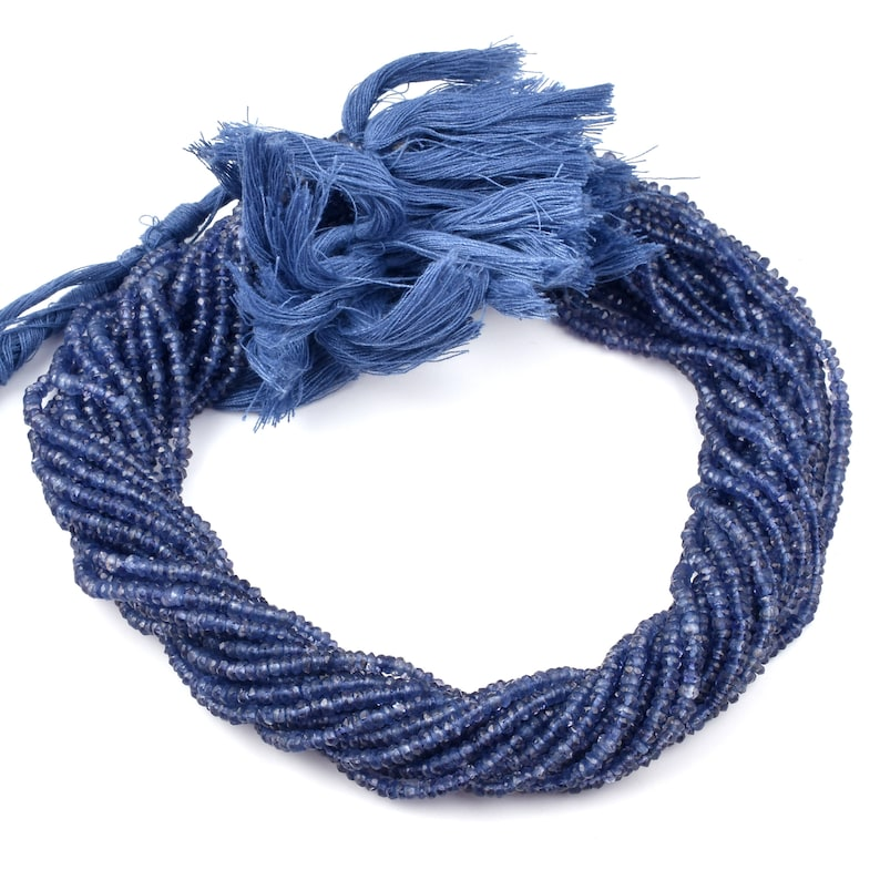 Iolite Blue Beads Wholesale Iolite Gemstones Beads Natural Blue Iolite Faceted Rondelle 3-4MM Beads Strands AAA Iolite Faceted Beads