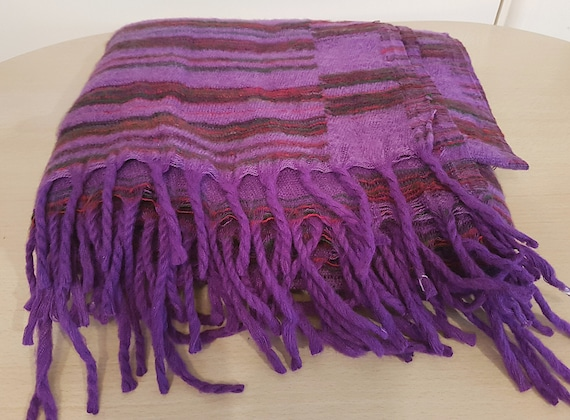 Super soft yak wool Fair Trade large blanket handmade in Nepal Blue