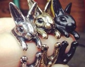 Brand New Cute Rabbit Bunny Vintage Wrap, Black, Bronze, Silver Adjustable Ring, One Size