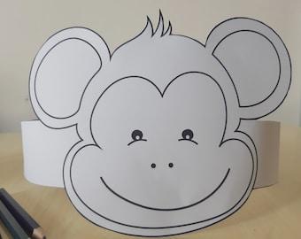 photograph about Monkey Mask Printable identify Do it yourself monkey mask Etsy