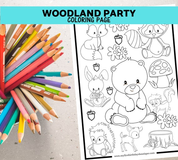 Woodland Birthday Party Wedding Colouring Sheet for Kids