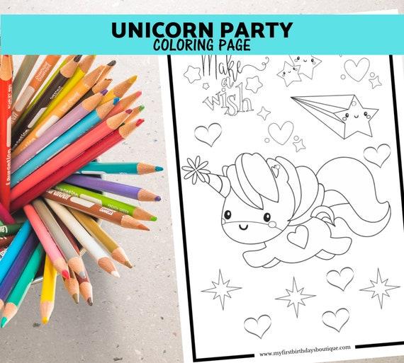 Unicorn Birthday Coloring Page Unicorn Party Unicorn Favor Etsy