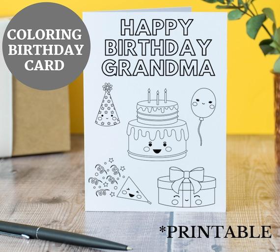 Happy Birthday Grandma Coloring
