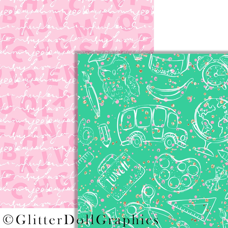 Green Abstract Purple Seamless Pattern Planner Stickers Glitter Paper Pink sch1 Back to School Basic Digital Paper Planner Graphics