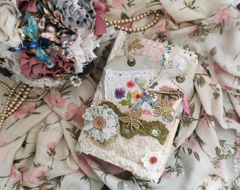 Junk journal, handmade junk journal, embroidered journal, vintage lace, diary, key to the secret garden junk journal