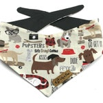 HIPSTER DOGS Bandana, cute funny comic cartoon style dog bandana