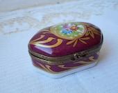 stunning Rare vintage French Limoges porcelain hand painted trinket box peint main
