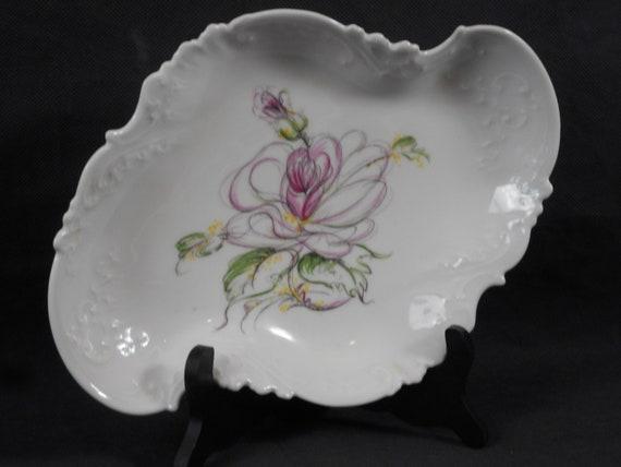 French Vintage White Porcelain Trinket Dish from Limoges France Golden Heart Decor