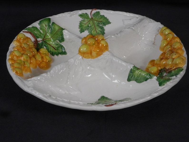superbe vintage italien peint à la main grand plat grignotines / vaisselle / plat dapéritif