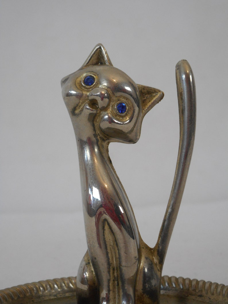 vintage French silver plated metal trinket dish  ring holder  ring dish