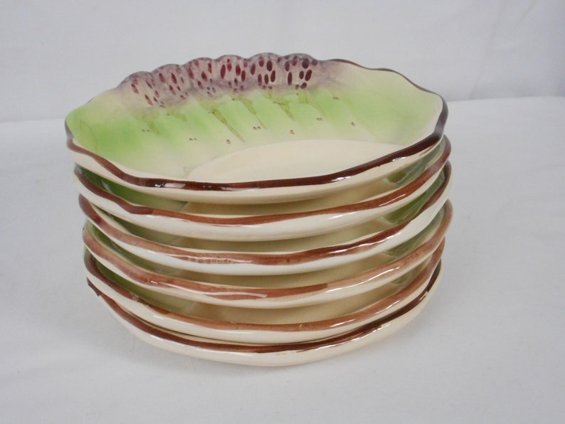 set of six rare Antique French Barbotine hand painted and hand made majolica Asparagus Plates