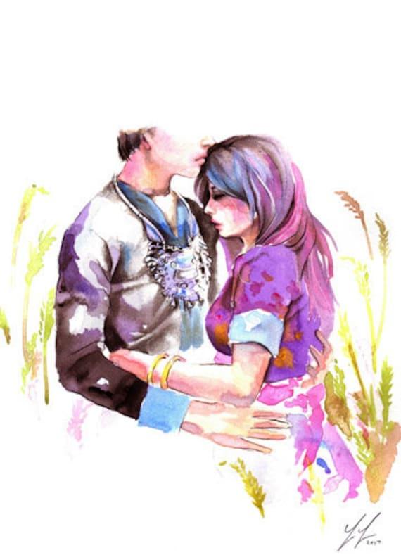 Hmong Couple Art Poster Print Watercolor | Etsy