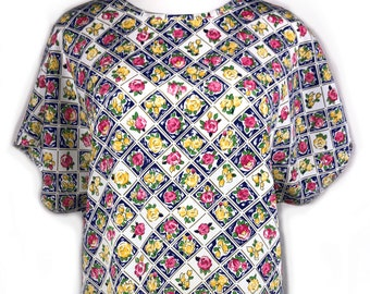 bde51713 Vintage 80's women's Christie & Jill, Flower Shirt Women Size Large/L
