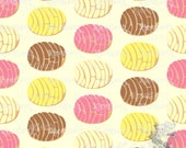 Pan Dulce Conchas On Brown Toss Up Custom Knit Woven Liverpool Cotton Lycra Fabric By The Yard by Half the Yard