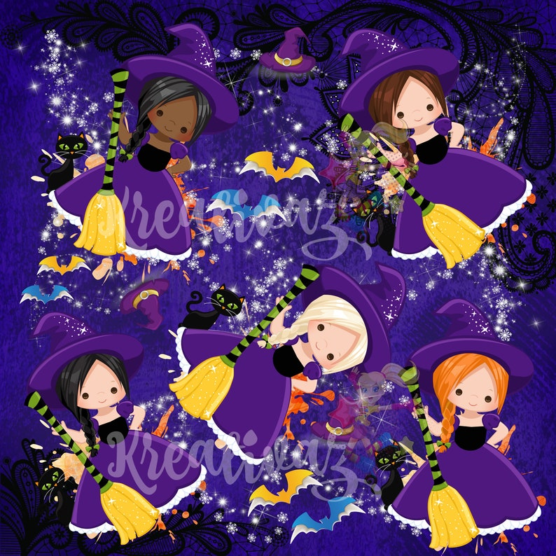 Witches Halloween Custom Knit or Cotton Fabric By The Yard by Half the Yard