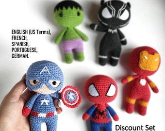 Spiderman, Black Panther, Iron Man, Hulk and Captain America crochet pattern,  Amigurumi Superhero, PDF crochet pattern.