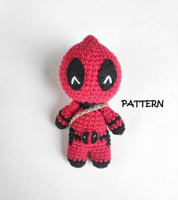 Deadpool Crochet Doll Pattern, Crochet dolls Birthday