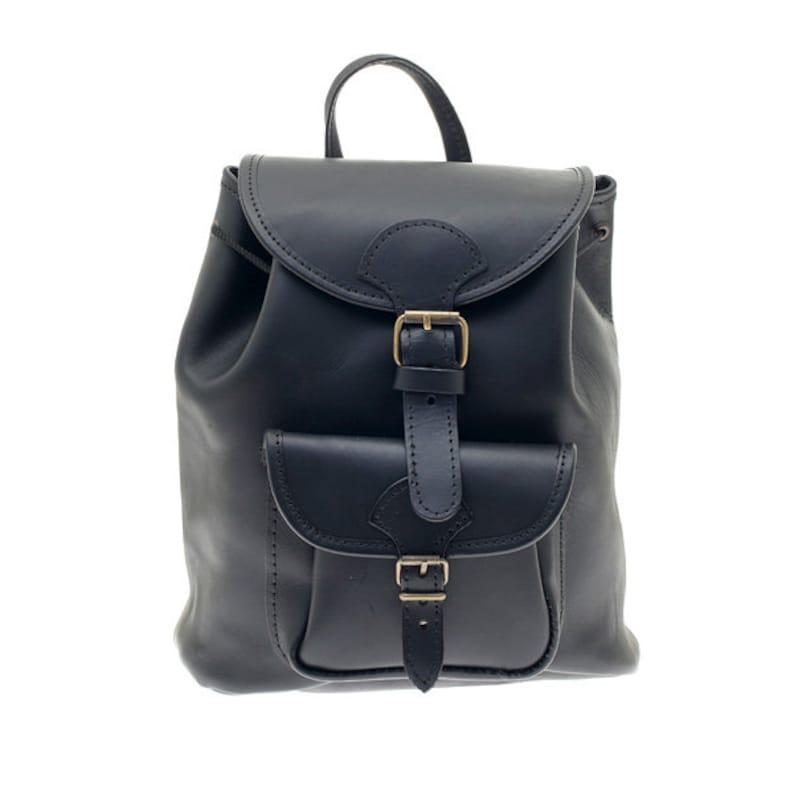 Polished Calfskin Leather Backpack Black Colors: Natural Handmade in Greece