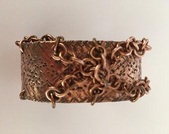 Chained Copper Cuff Bracelet