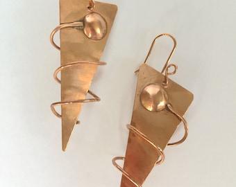Copper Cosmic Wire Spiral Earrings