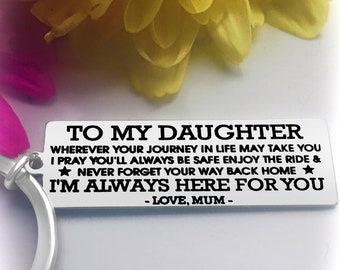 Gift For Daughters To My Daughter Keyring Daugther Birthday Present Personalised Gifts