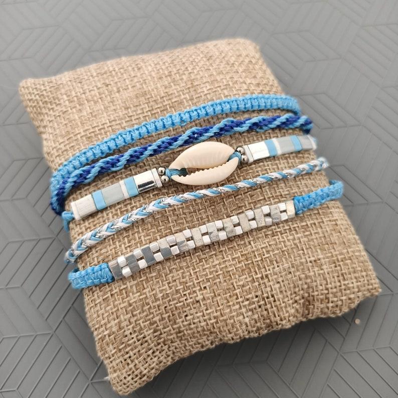miyuki cawry boho macrame yoga kumihimo craft gift Set of 5 bracelets blue surfstyle wrap style