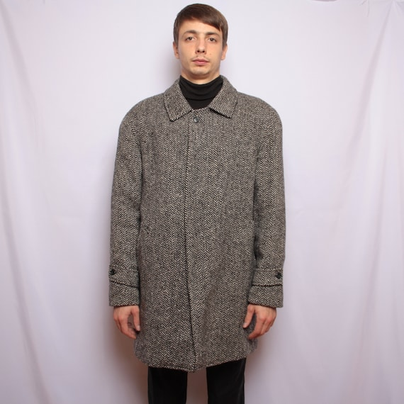 Vintage Franco Ancona Herringbone Jacket Coat Wool