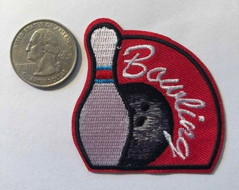 Large Bowling Bag//Ball//Pins PASTEL Iron on Applique//Embroidered Patch 240303A