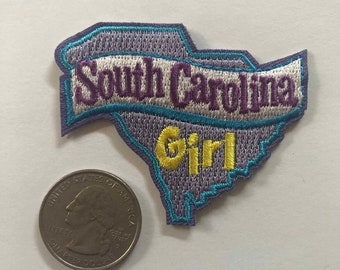 """/""""SOUTH CAROLINA GIRL/"""" Iron On Embroidered Patch State Shape"""