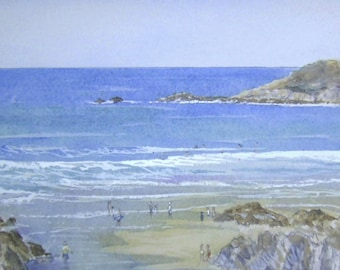 Barricane Beach -Woolacombe - North Devon - Limited Edition Print from Original Watercolour by Richard E Bennett