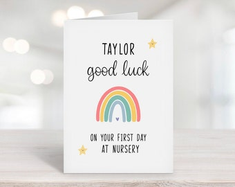 Good Luck On Your First Day At Nursery Card, Starting Nursery, Back To School, Personalised Gift, For Daughter, Rainbow Card, First Day Card
