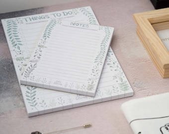 Things To Do Notepads, A6, A5, To Do List, Back To School, Uni, 2021 Notebook, September Birthday Gift, Floral, Botanical, Tear Off Pad
