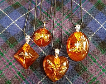 Outlander Inspired Dragonfly in Amber Necklace No Bezels Four Styles to Choose From