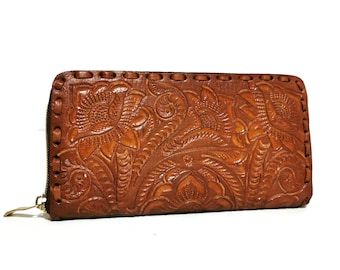 Embossed Money Card Holder Hand Tooled Wallet,Leather Wallets Women,Crafted Lather Purse,Ethnic Clutch Wallet Christmas gifts for women