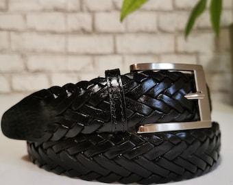 Belt for Men, braided Leather belt, Handmade , Black Belt for Men , Casual Belt