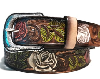 LEATHER BELT for WOMEN, Handmade, Western, Boho , With Removable Buckle, Brown , Belt with Roses, Embossed, Bohemian, Gift for Her