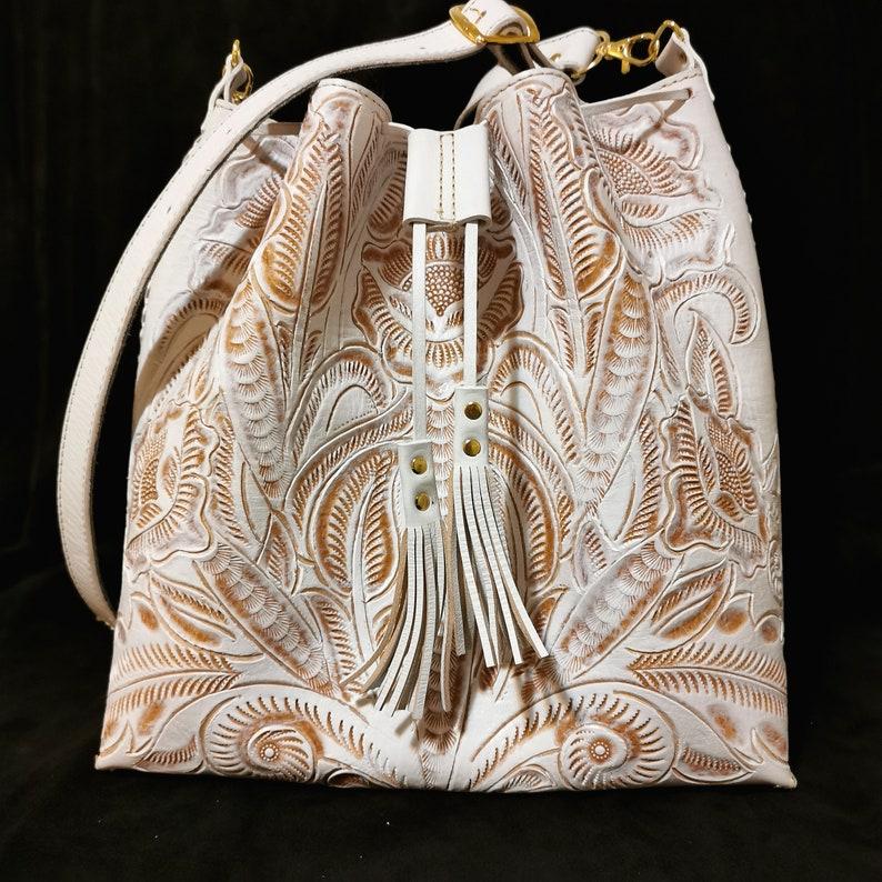 Hand Tooled Leather Women/'s Bag Gift for Her white Bohemian Boho Handmade
