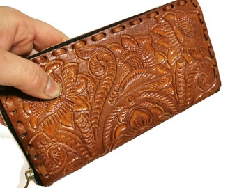 Women's Wallet, Leather, Vintage, Handmade , Hand Tooled Leather, Boho, Bohemian, Large Wallet , for Cards, Gift for Her