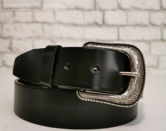Leather Belt for Men, Men's Belt, Black Belt, Handmade Belt  ,  Removable Buckle, Minimalist, Casual Belt ,  Belt for Jeans