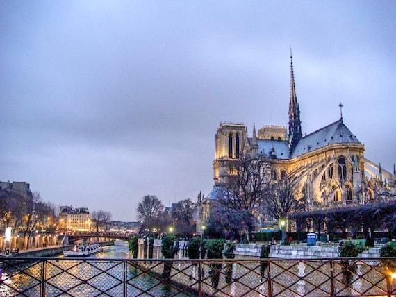 Notre Dame Paris Night Cathedral Notre Dame Church Dusk Paris Etsy