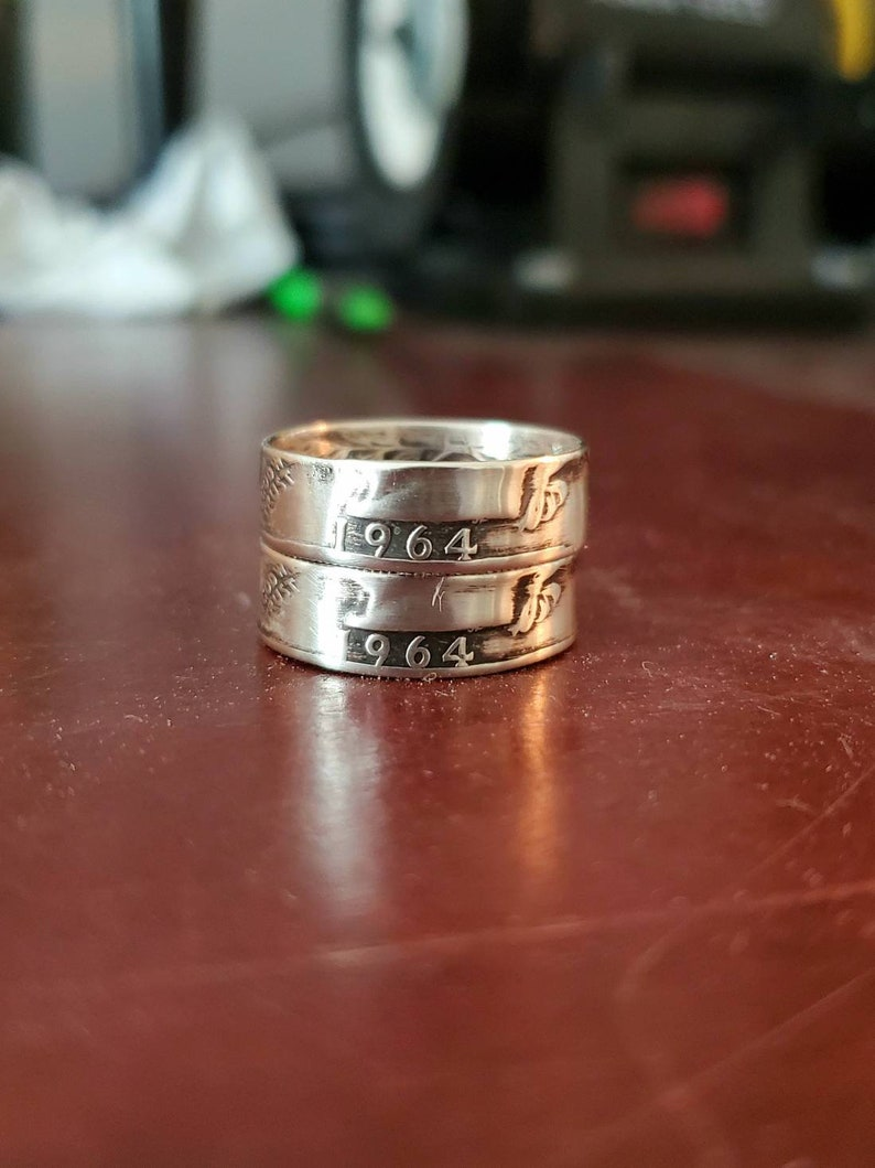 Coin ring hand made from a US quarter various years