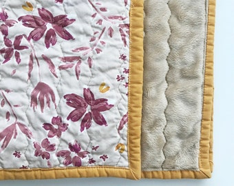 Rustic Flowers Baby Quilt | Baby shower gift; nursery decor; play mat; car blanket; crib quilt