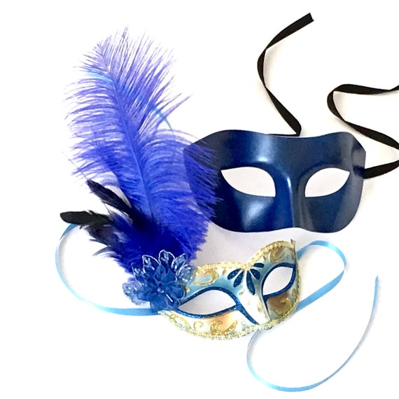 Royal Blue Fashionable Venetian Feather Masquerade Mask w// Rose for Women